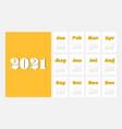 2021 calendar design template week starts vector image