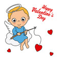 angel sitting on a cloud fishing hearts vector image