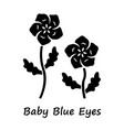 bablue eyes glyph icon linen blooming flower vector image