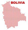 bolivia map - mosaic of heart hearts vector image vector image