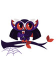 Cartoon halloween dracula owl flat poster