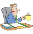 Cartoon Man Drinking Coffee vector image