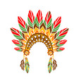 chief war bonnet with feathers native indian vector image vector image