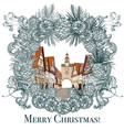 christmas or new year with vintage town vector image