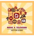 colorful cinema icons vector image vector image