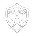 Continuous one line drawing police badge concept