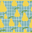 Creative yellow pears seamless pattern on blue