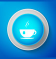 cup with tea bag icon isolated on blue background vector image vector image