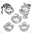Cute monkey characters line art isolated on a vector image vector image