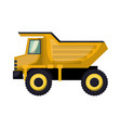 dump truck flat icon colorful silhouette with half vector image