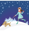 Girl and dog winter vector image