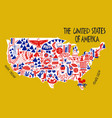hand drawn stylized map united states of vector image vector image