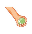 hand with tennis sport ball icon vector image vector image