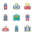 handbag icons set cartoon style vector image vector image