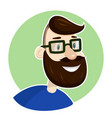 hipster man bearded face in eyeglasses vector image vector image
