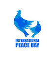 international peace day greeting card with flying vector image vector image