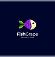 logo fish and grape cute colorful style vector image