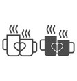love mugs line and glyph icon cups with heart vector image vector image