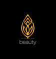 luxury beauty leaf elegant logo style sign symbol vector image vector image