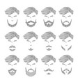 men beard set different style outline vector image