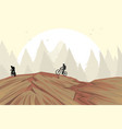 mountain bike on hill vector image vector image