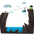 mountain cableway on white background vector image