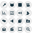 multimedia icons set with application mute vector image vector image