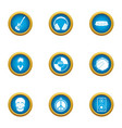 music threat icons set flat style vector image