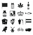 Netherlands icons set black simple style vector image vector image