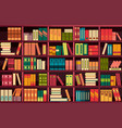 seamless pattern bookshelves vector image