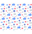seamless pattern with social media icons on white vector image