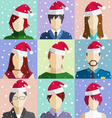 Set of Christmas People Faces in Hat in Snowfall vector image vector image