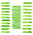 set of green paint water color brushes stroke vector image vector image