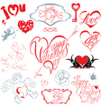 Set of hand written text Happy Valentines Day vector image vector image