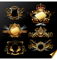 Set of ornamental golden labels vector