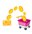 shopping infographic cart card credit shopping con vector image vector image