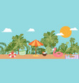 summer vacation beach sun umbrella sand palm vector image