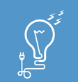 Symbolic light bulb with cord and electric plug vector image vector image