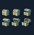 various key frames animation of wooden chest or vector image vector image
