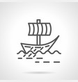 viking sail boat simple line icon vector image