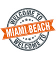 welcome to Miami Beach orange round ribbon stamp vector image vector image