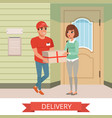 woman getting package from courier cartoon people vector image vector image