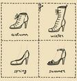 woman shoes doodle set vector image