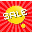 Yellow Sale Bubble Icon on Red Backgound vector image vector image