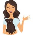 young woman holding a dog vector image vector image