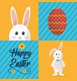 happy easter greeting card celebration festive vector image