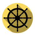 ship wheel sign flat black icon with flat vector image