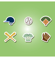 color set with baseball icons vector image
