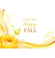 Autumn background with water lily flower falling vector image