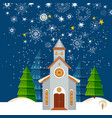 christmas card with snowy night vector image